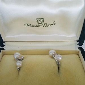 Mikimoto Jewelry - Mikimoto Silver Dangling Pearl Screw Back Earring